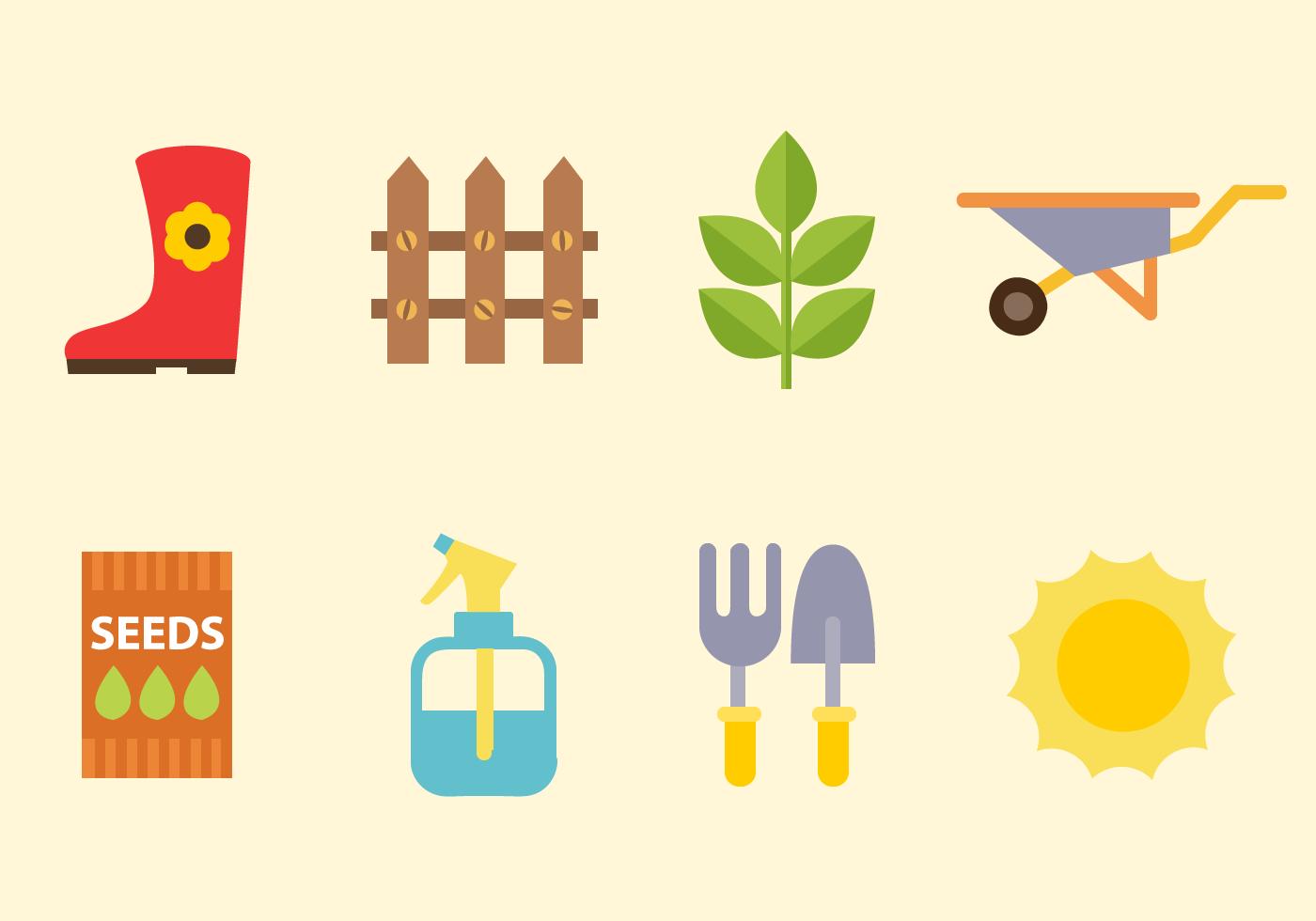 Free gardening elements vector download free vector art for Elementos de jardineria