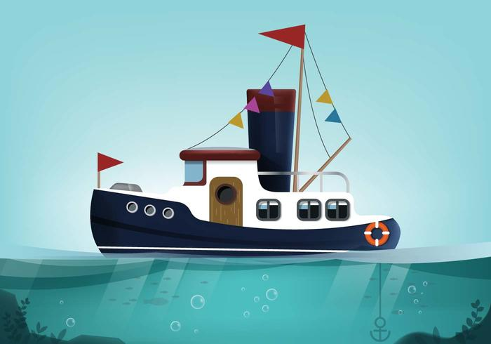Tugboat Landscape Vector