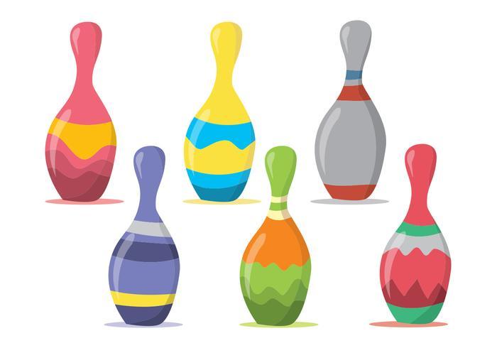 Bowling pin vector set