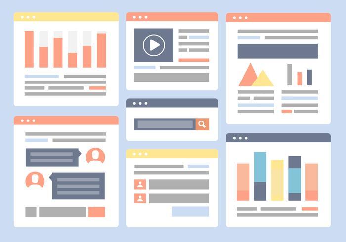 Free Flat Website Layout Vektor Hintergrund