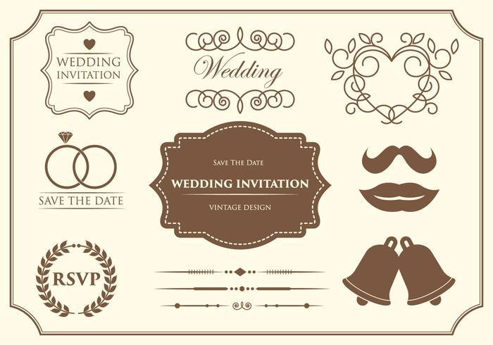 Vecteurs d'ornement de mariage gratuits