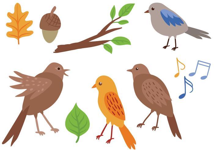 Vetores de pássaros de canto gratuitos