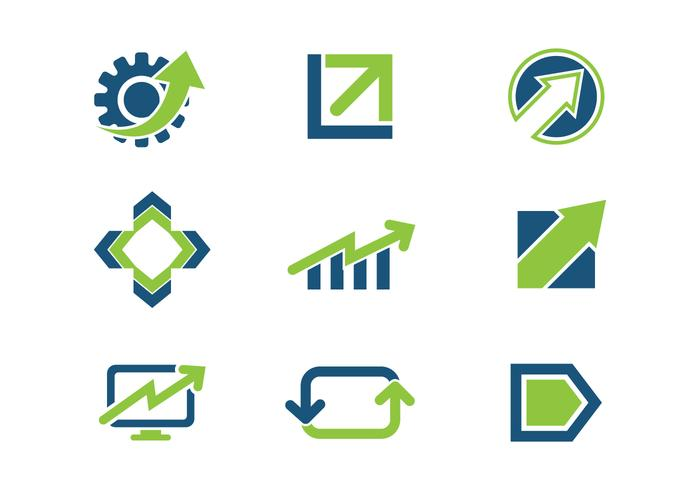 Blue Green Growth Business Logo Icons