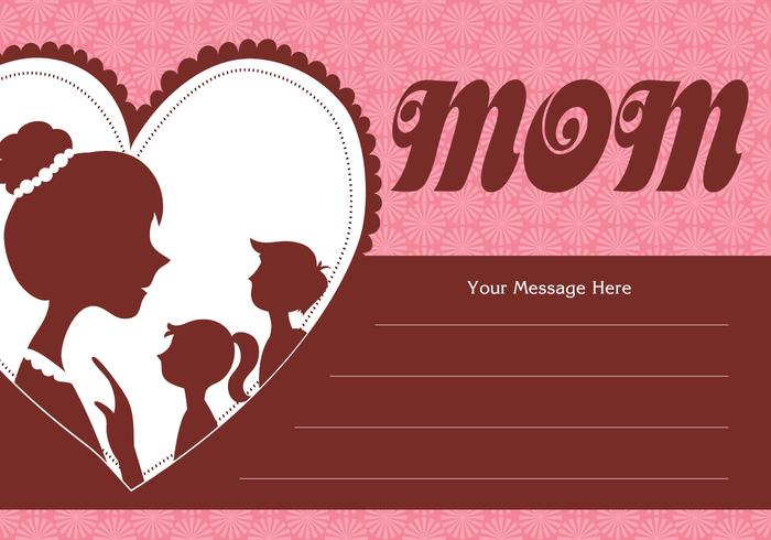 Mother and Children Silhouette Card Vector
