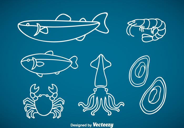 Seafood Outline Vector