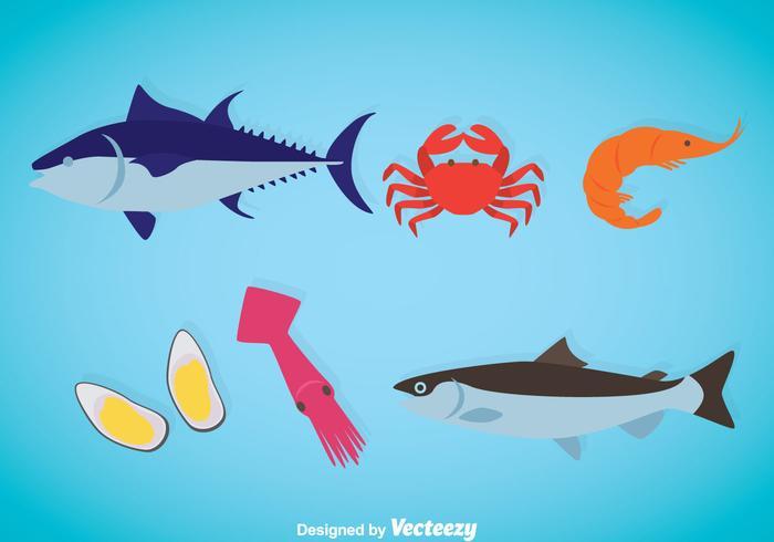 Vecteur d'icônes plates de fruits de mer