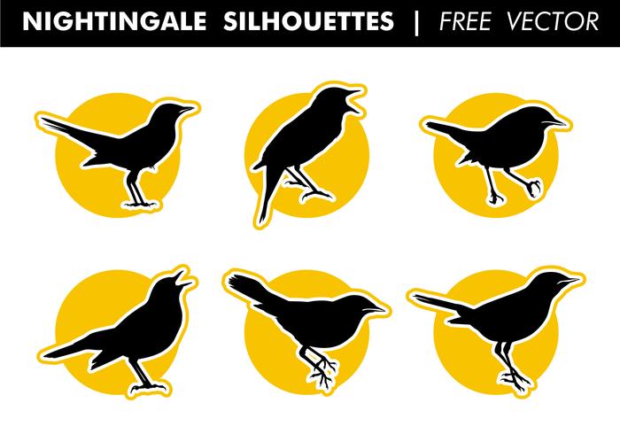 Nightingale silhouettes vecteur gratuit