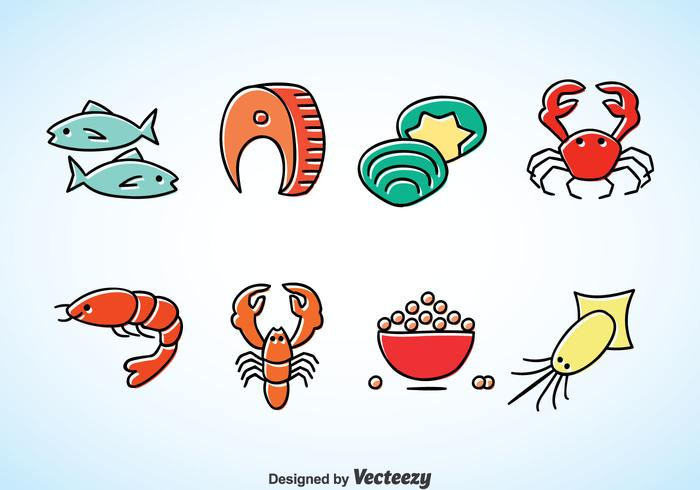 Seafood Cartoon Vector