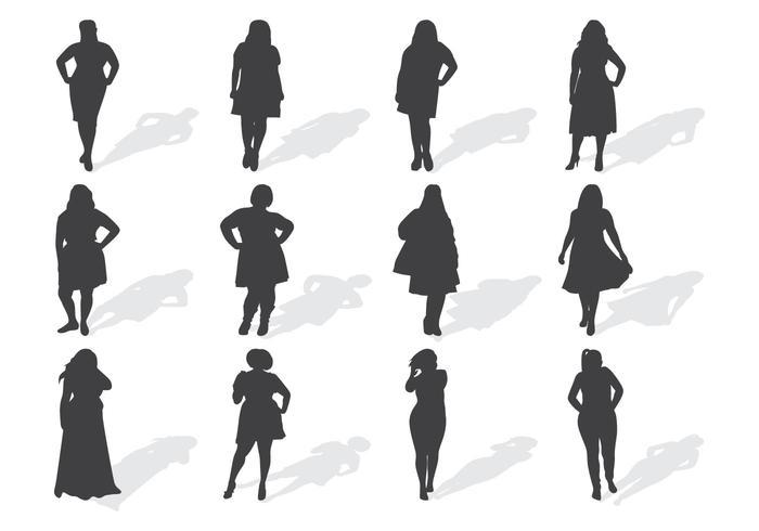 Fat Women Silhouettes Vector