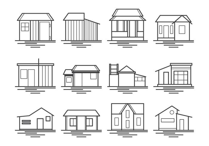 Shack And House Icon Vector Pack