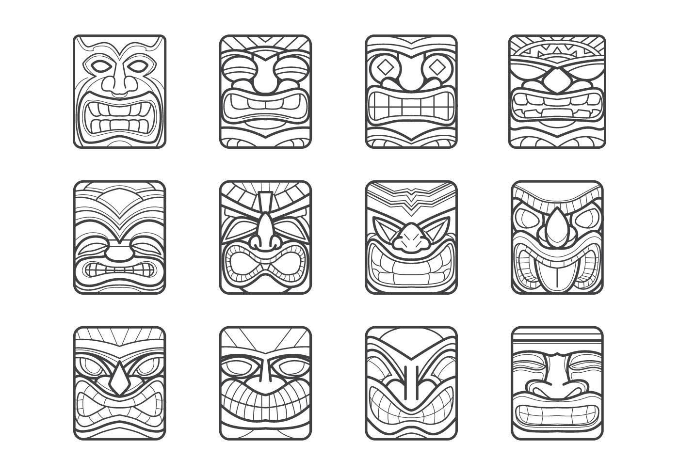 hawaii tiki mask vector pack download free vector art stock