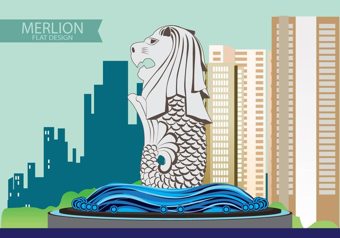 Illustration de Merlion Flat design