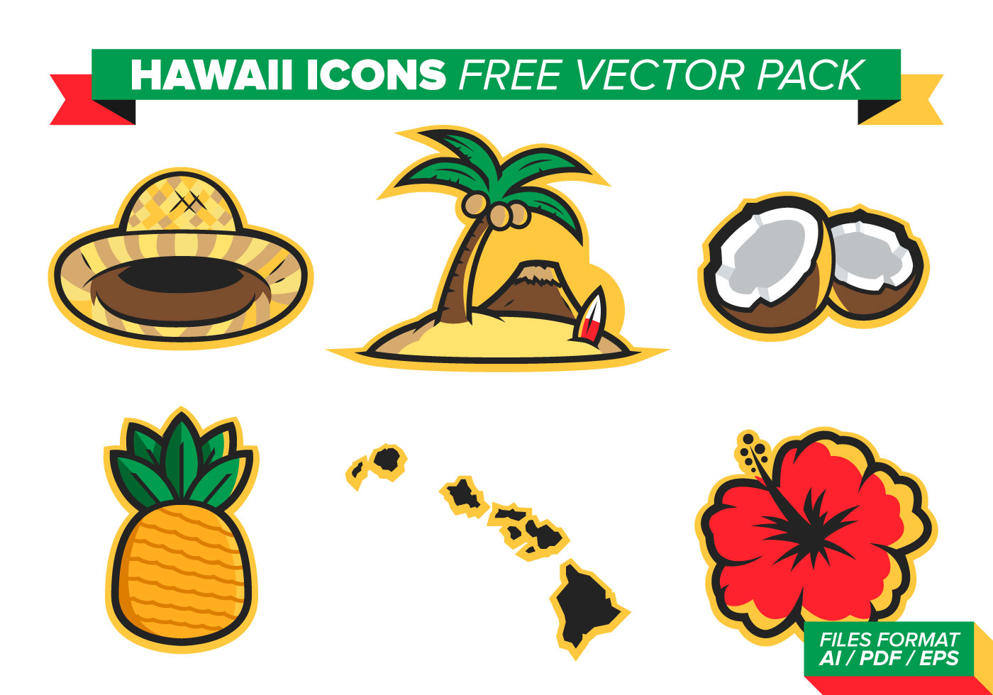 Download Free Vector Art Stock: Hawaii Flowers Free Vector Pack