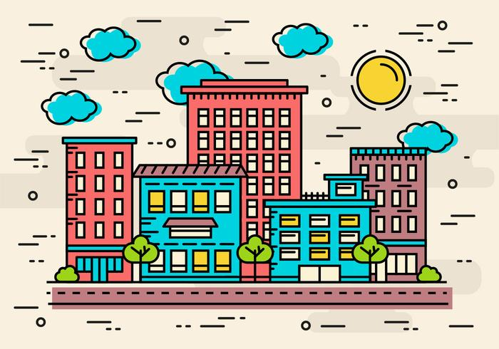 Free Flat Linear City Vector