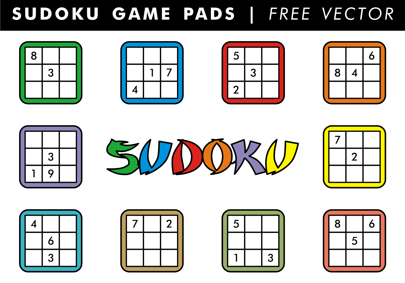Vector Drawing Lines Games : Sudoku game pads free vector download art