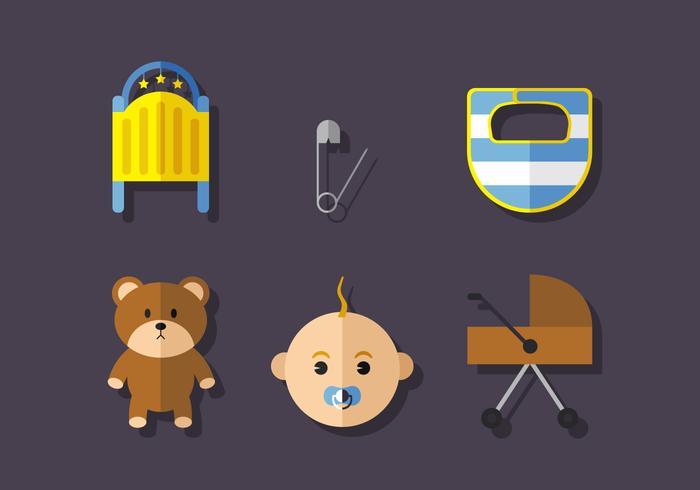 Conjunto de iconos de bebé vector