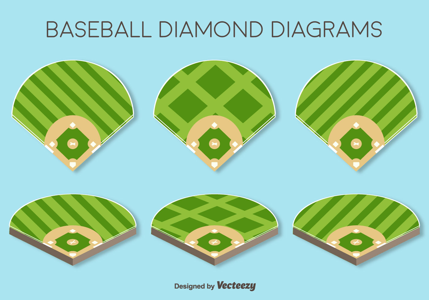 vector set of baseball fields elements