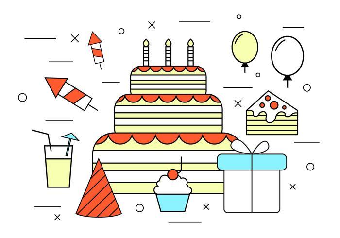 Ícones de vetor de aniversário