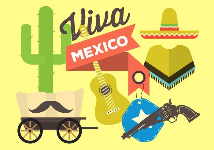 Vetores livres do México plano