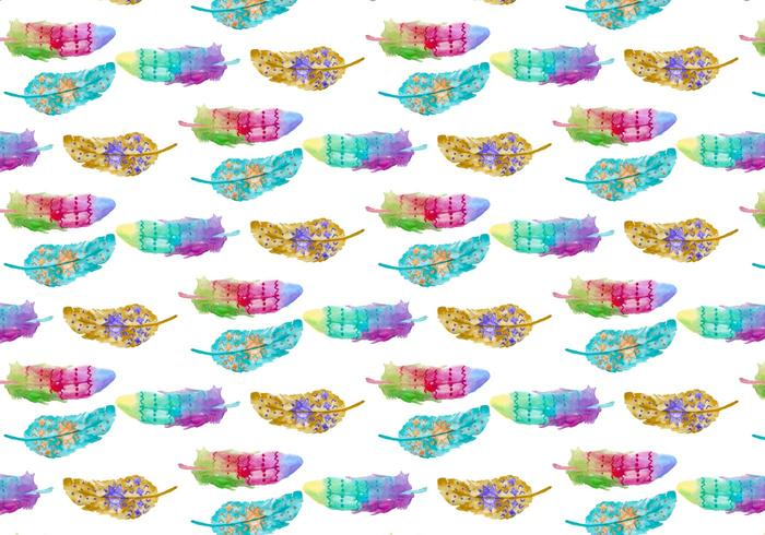 Pattern Watercolor Bohemian Feather vector