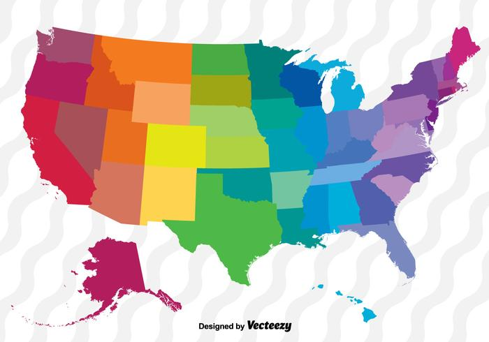 Colorful Vector Map Of The United States - Download Free Vector Art ...