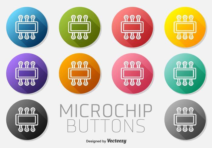 Ícone do microchip conjunto do vetor de botões