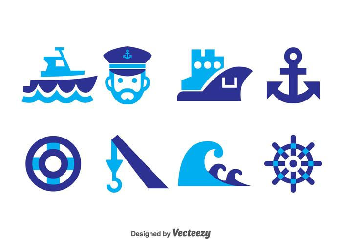 Nautical Blue Icons Vector