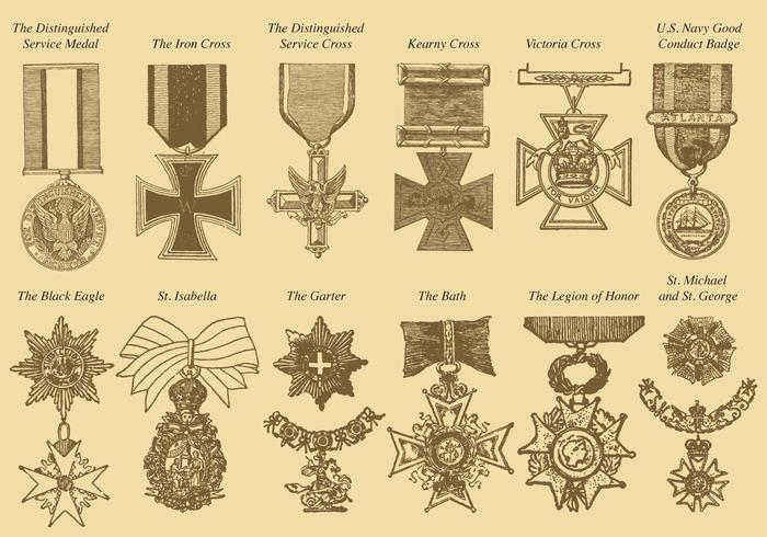Medallas de guerra vector