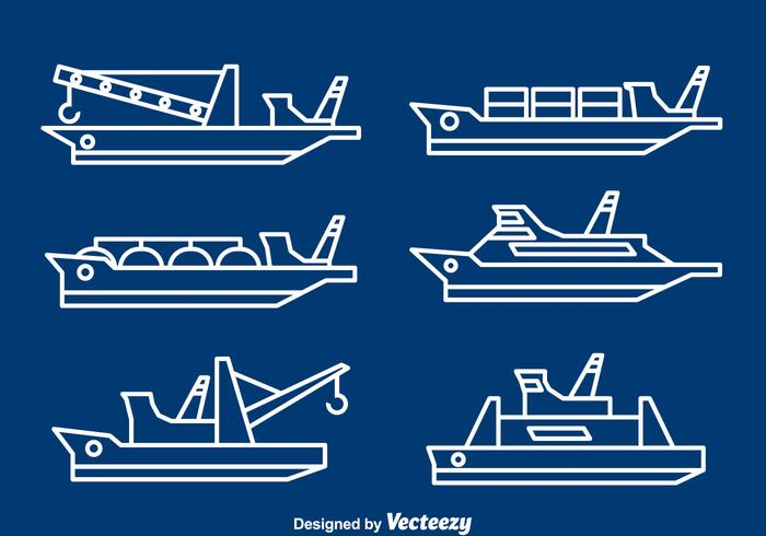 Ships And Boats Line Vector