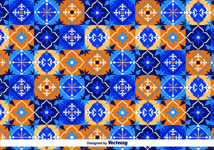 Blue Talavera Vector Pattern