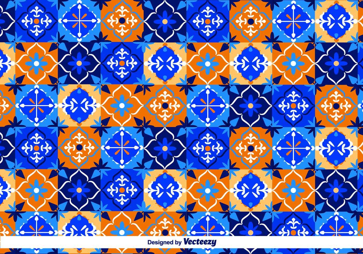 Blue Talavera Vector Pattern Download Free Vector Art