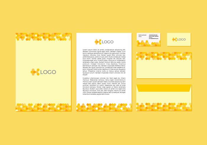 Diseño de membrete amarillo libre del papel con membrete