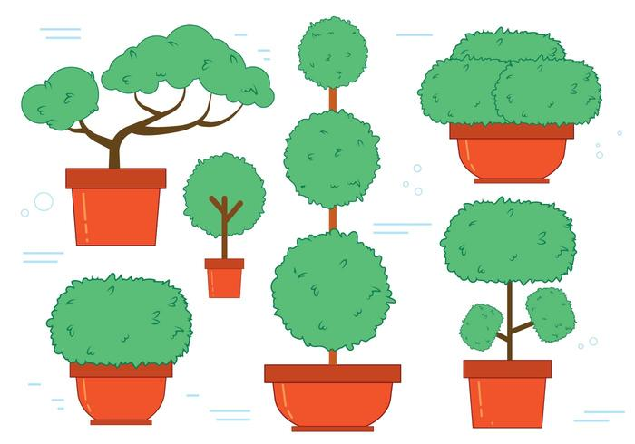 Gratis Bonsai Tree Vector Set