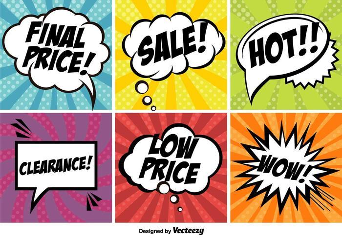 Pop Art Comic Promotion Vector Banners Set