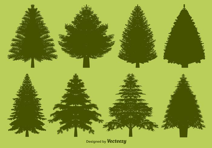 Vector Pine Silhouettes Set