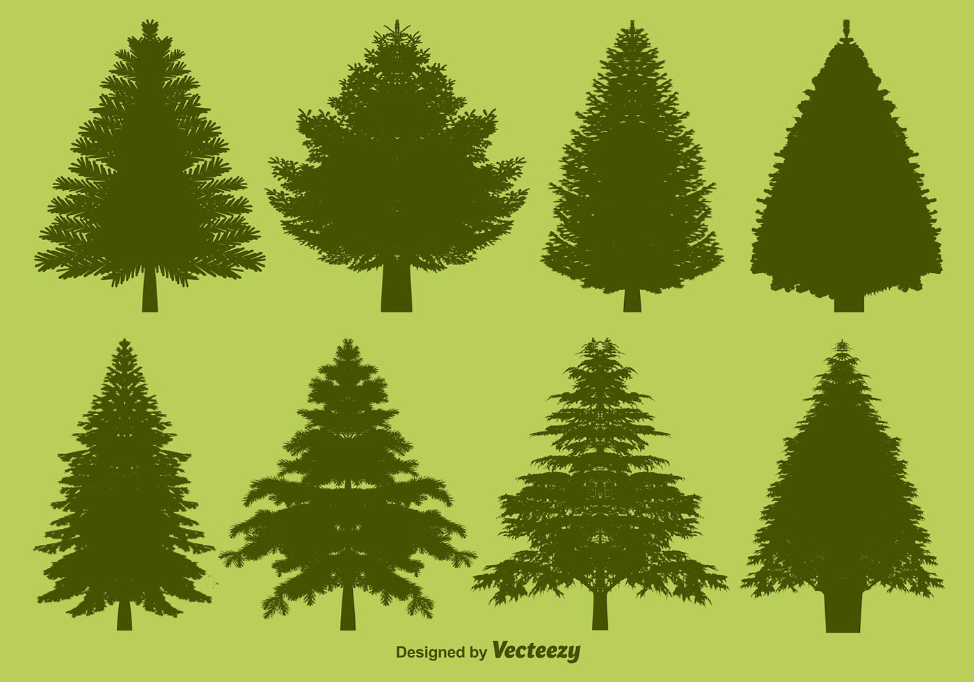 Vector Pine Silhouettes Set Download Free Vector Art