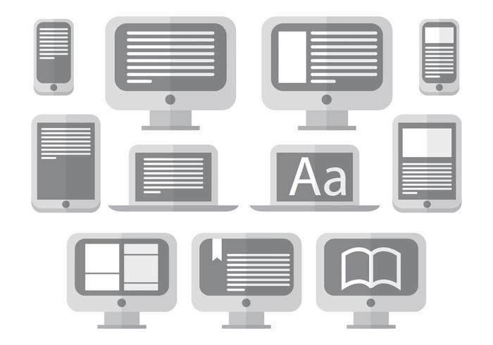 Conjunto de ícones E Reader