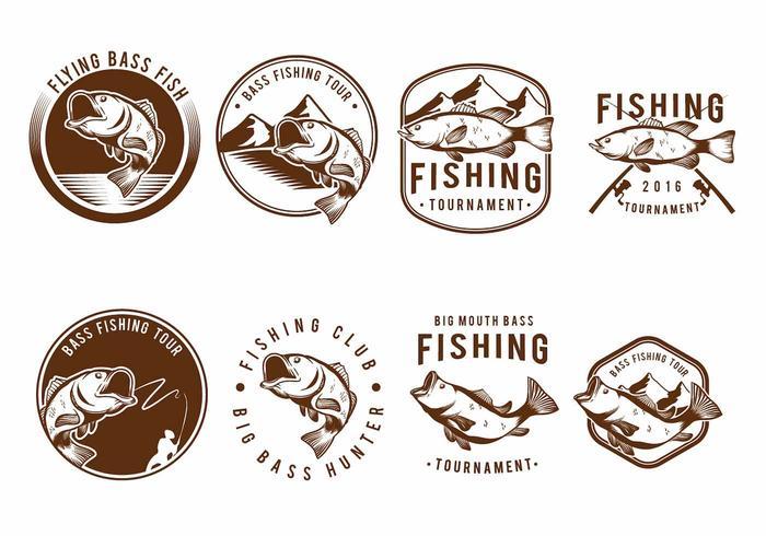 Bass Fish Badge Set