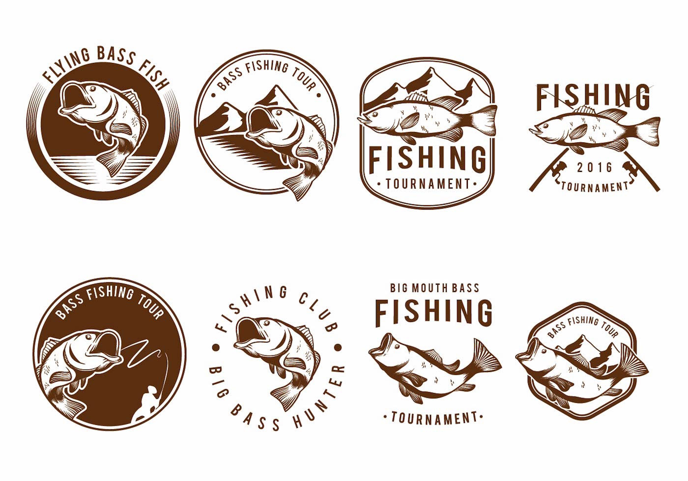 Bass Fish Badge Set Download Free Vectors Clipart