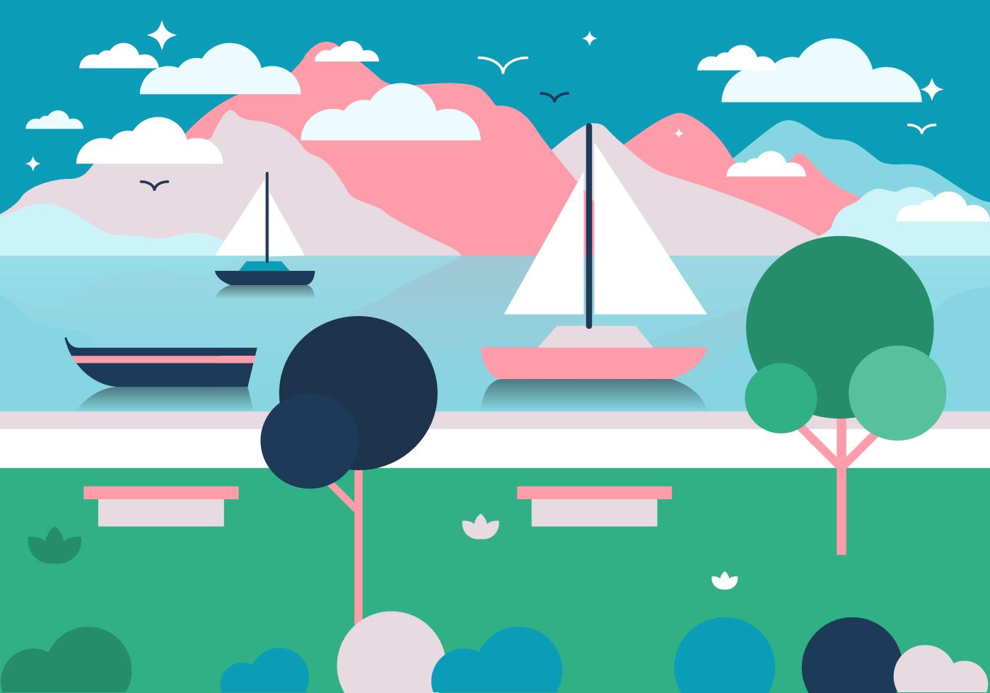Landscape Illustration Vector Free: Free Landscape Vector Illustration