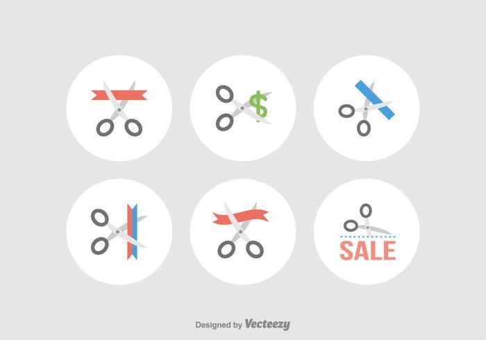 Scissor Cutting Vector Icons