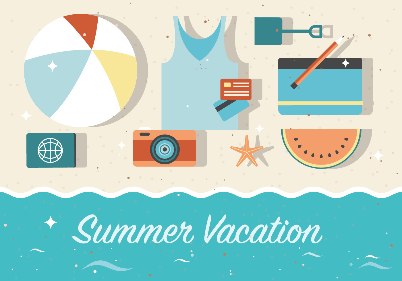 Free Summer Vacation Vector Background Download Free