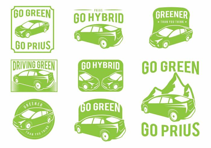 Prius Green Car Badge Set