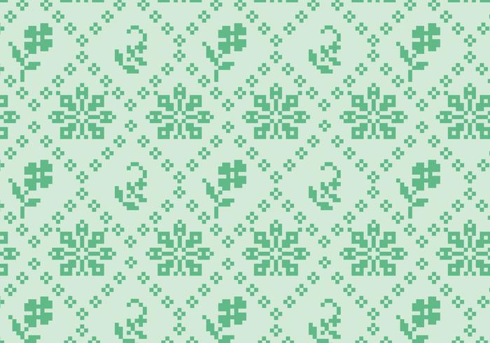 Stitching Green Floral Pattern