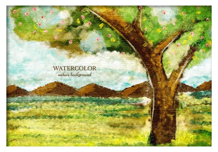 Gratis Vector Waterverf Boom Landschap
