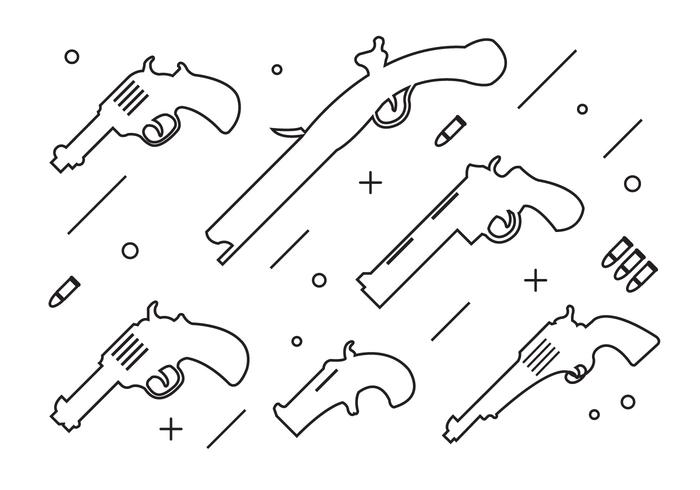 Collection of Thin Style Gun Shapes