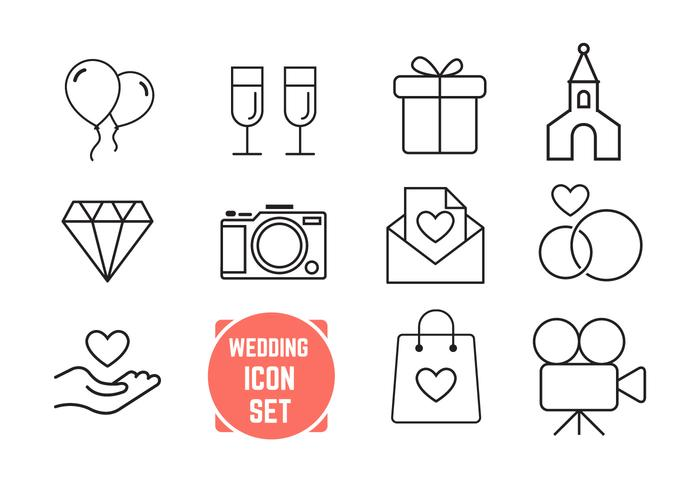 Thin Line Wedding Icons