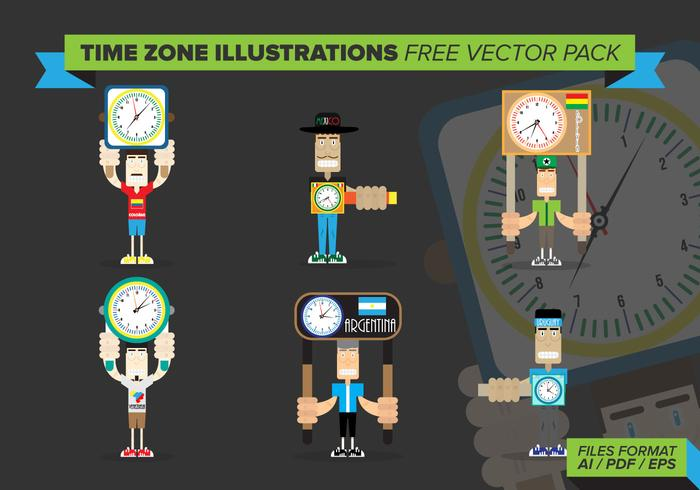 Tidszon illustrationer Gratis Vector Pack