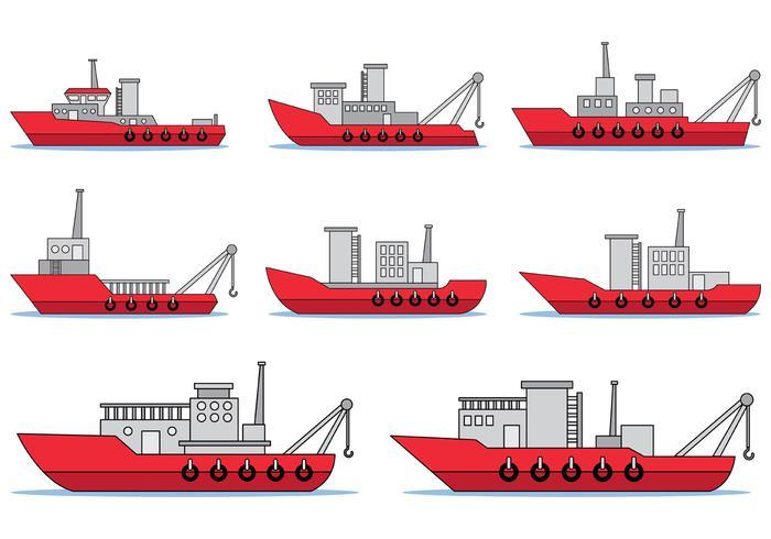 Set av bogserbåtvektor