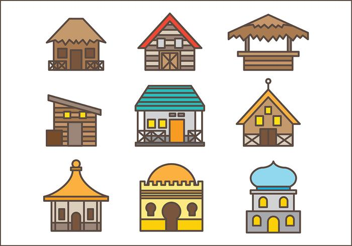 Free Shack Icons Vector Pack Zwei